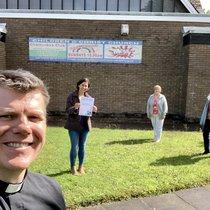 Revd Trystan Hughes and dementia friendly volunteers