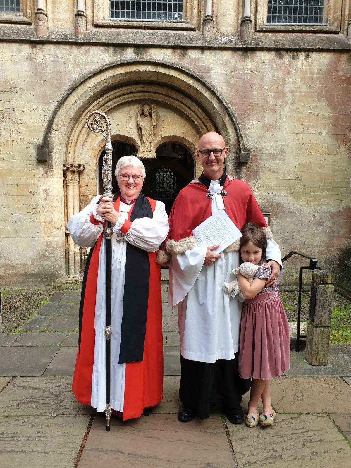 Bishop June, Rev'd Rod Green and his daughter at Llandaff Cathedral