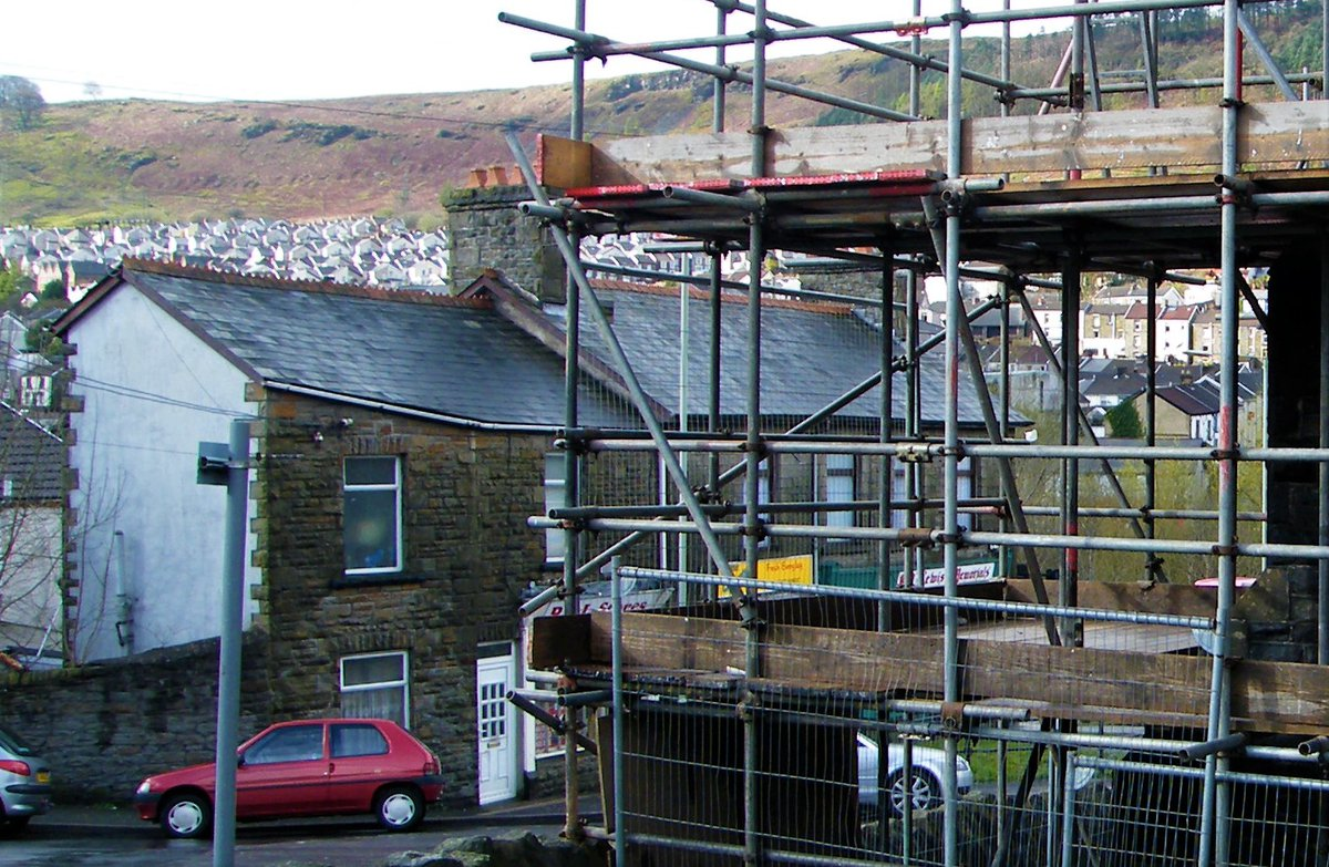 Scaffolding around a building in the Valleys