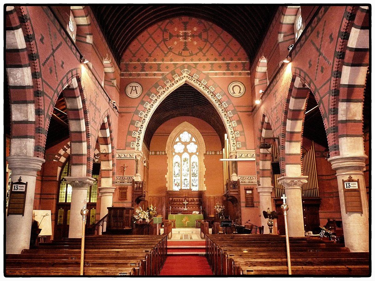 Interior of the church showing decorative brickwork