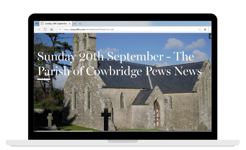 An image of a laptop showing e-newsletter The Parish of Cowbridge Pews News