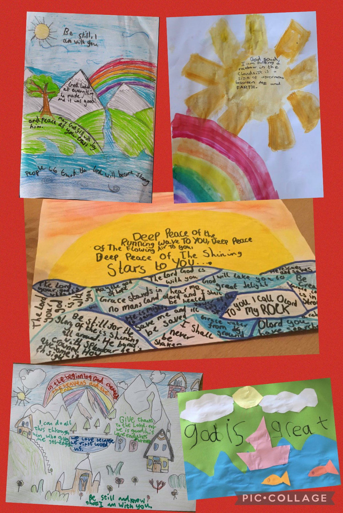 Young children's colourful artwork based on Christian artist