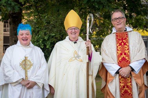 Revd Martine Lewis, Bishop June, Revd Peter Watson St Catherine's Church Pontypridd.jpg