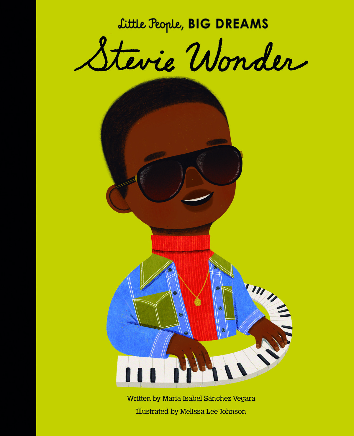 a picture of the front cover of a book.  An illustration of Stevie Wonder playing the piano.