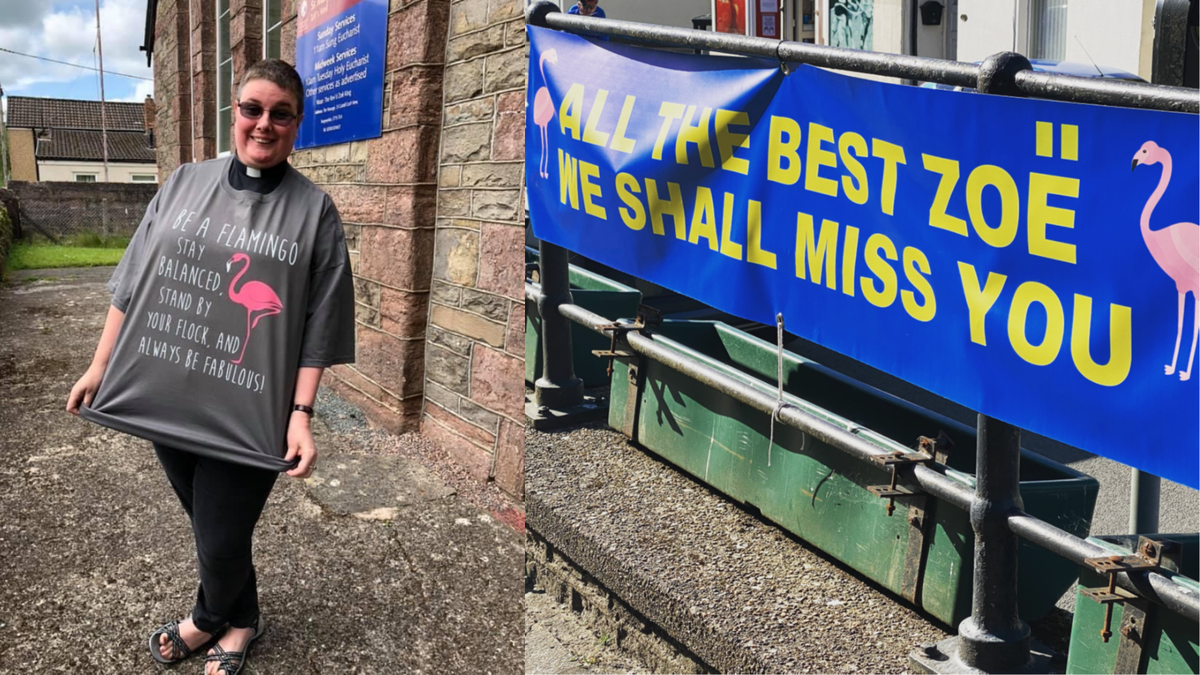 Revd Zoe King and a sign bidding  her best wishes as she moves on from the Parish of Tongwynlais