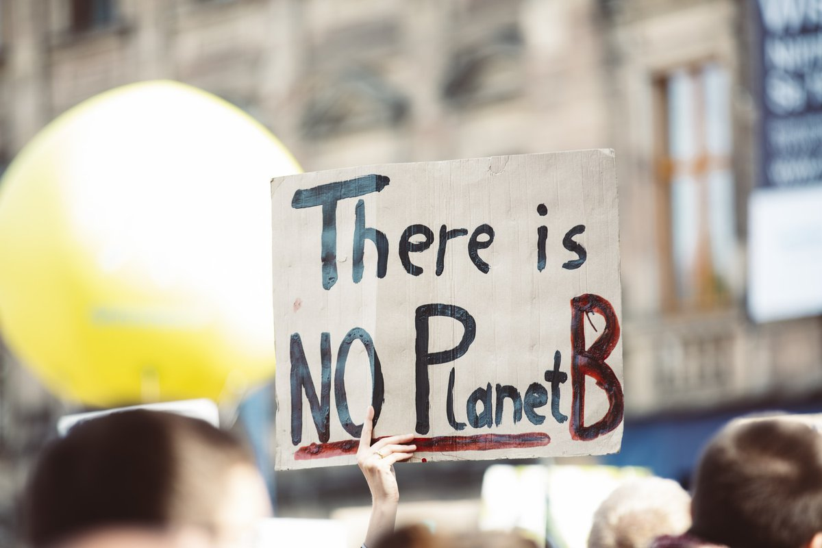 """Climate activist sign held up that says """"there is no planet B"""""""